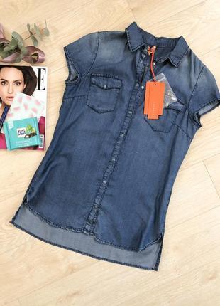 Джинсовая блуза на короткий рукав