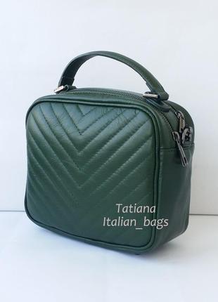Стеганая кожаная сумка на цепочке. италия.