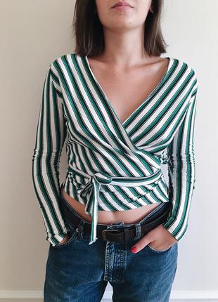 Блуза на запах длинный рукав