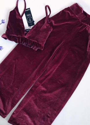 Комплект топ  велюровые штаны кюллоты
