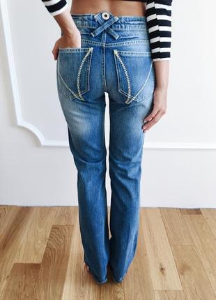 Прямые джинсы frankie morello/джинсы на высокой посадке /синие джинсы