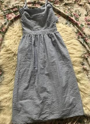 Платье в полоску сарафан миди с бантом