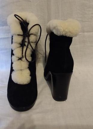 Ботинки замшевые черные braska зима