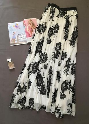 Шифоновая юбка плиссе в цветах
