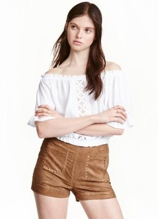 Коричневые шорты h&m в стиле boho. короткие шорты бохо под замшу