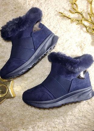 Угги ботинки зима на платформе,р.36-41,темно-синие