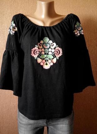 Блузка с вышивкой и воланом на рукаве primark