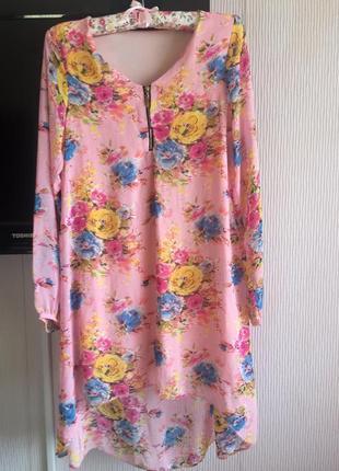 Платье цветочный принт шифон tu