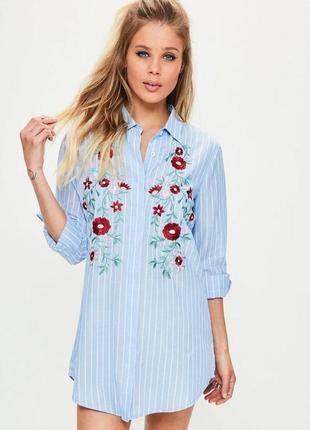 Трендовая удлиненная рубашка-платье с вышивкой missguided!все размеры!
