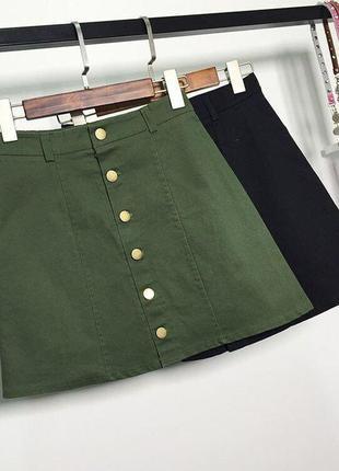 Джинсовая юбка трапеция с пуговицами хаки h&m