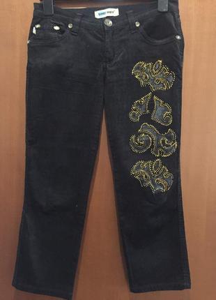 Черные велюровые вельветовые бриджи с узором