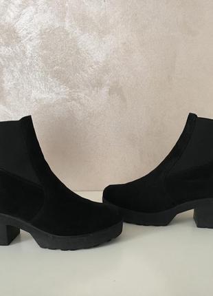 Трендовые ботинки ботильоны из натуральной замши