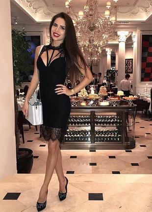 Сексуальное бандажное черное кружевное облегающее платье футляр миди herve leger