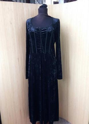 Длинное чёрное платье фактурный велюр со шнуровкой m/l