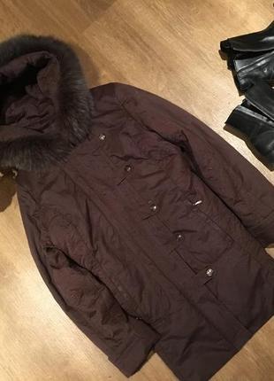 Теплая куртка 🧥 пальто на подкладке натуральный мех утеплитель