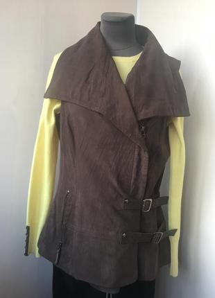 Стильный кожаный жилет, жилетка косуха, натуральная кожа