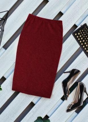♥️бордовая теплая юбка миди♥️