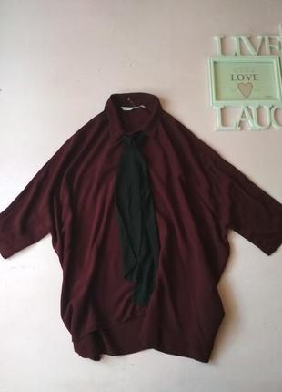 Блуза, рубашка в стиле оверсайз с бантом на воротнике zara
