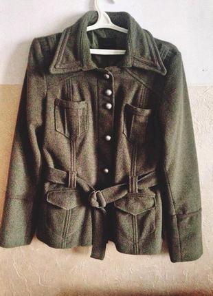 Пальто жакет милитари шерсть хаки