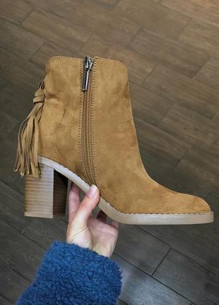 Ботинки сапоги на каблуке под замш с утеплением