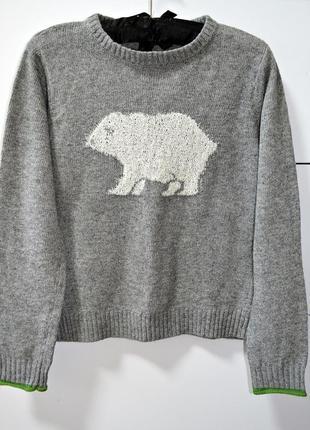 Шикарный теплый свитерок с белым медведем