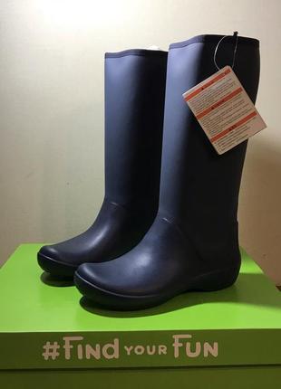 Женские резиновые сапоги крокс оригинал crocs rainfloe tall navy
