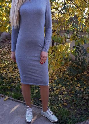 Крутое платье миди в полоску раз.l