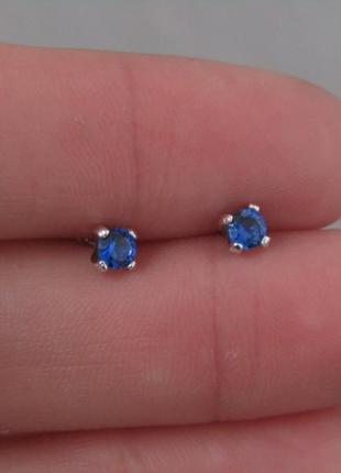 Серебряные серьги гвоздики малышка синий