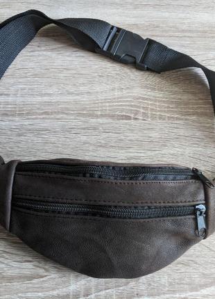 Бананка натуральная кожа, стильная сумка на пояс мягко коричневый винтаж мягкая кожа