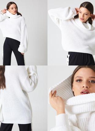 Вязаный свитер белый oversize