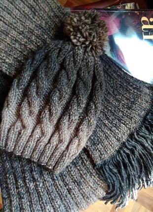 Набор шапка шарф вязаный ручной работы