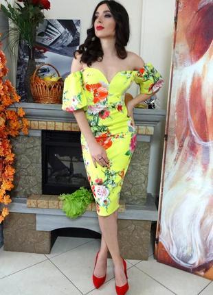 Платье asos premium миди с пышными рукавами и цветочным принтом m,l