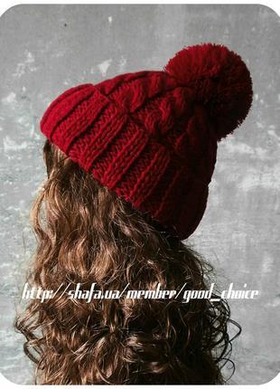 Любая расцветка! с помпоном и без! хлопковая шапка с отворотом/помпон/косы/спелая вишня