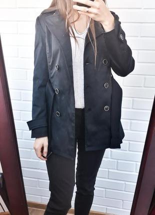 Обалденний черный тренч пальто плащ
