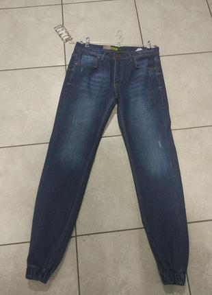 Синие джинсовые штаны на манжете утепленные на байке 26 27 28 29 30 31 32 33 34
