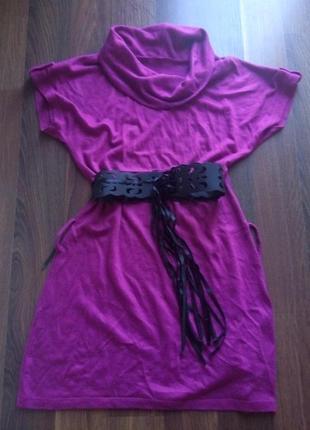 Малиновое платье короткое мини