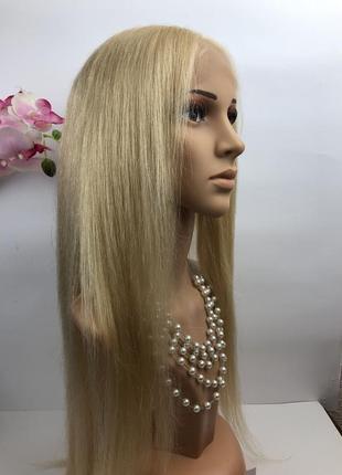 Натуральный длинный парик блонд #613 на полной сетке, имитация кожи
