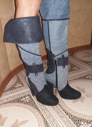 Стильные джинсовые ботфорты