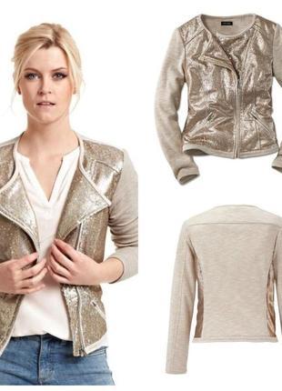 Трикотажна куртка, кофта з золотистими паєтками (євро 42 - наш 46/48 р.)