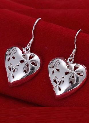 Объёмные серьги сердце в серебре 925, новые! арт.2188