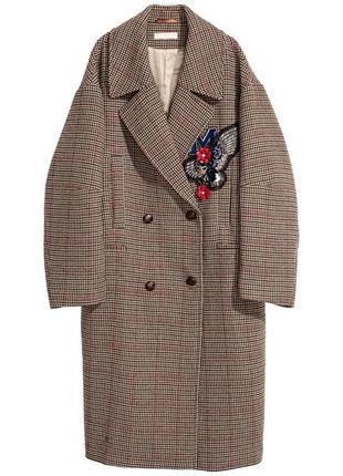 Шикарное пальто шерсть hm бойфренд оверсайз от 48-56 размер подходит