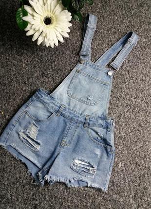 Модный джинсовый комбинезон с шортами denim co6 фото
