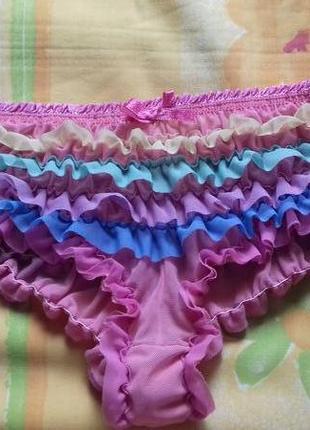 Новые тянужиеся разноцветные веселые сэксуальные трусики с рюшками р.м m accessorize