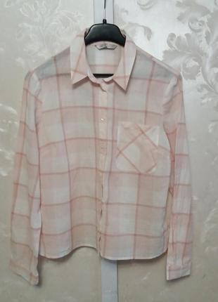 Укороченная клетчатая рубашка m&s с двойной застежкой