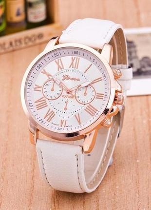 Кварцевые часы geneva (женева) с белым ремешком