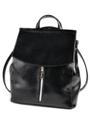 Сумка-рюкзак трансформер через плечо молодежный городской из кожзама