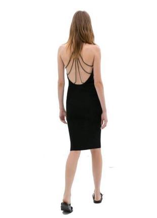 Черное миди платье с открытой спинкой