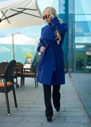 Пальто lux look синего цвета !! р 44 м