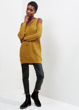 Длинный вязаный свитер оверсайз с открытыми плечами, туника