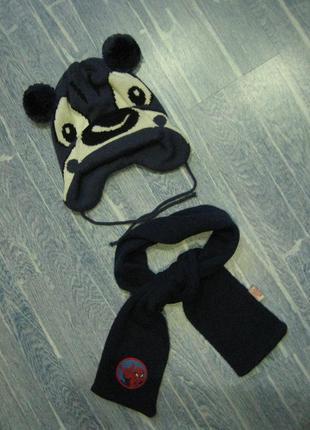 Теплый комплект шапка мишка на флисе шарф 12-24 м в оч хорош сост